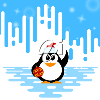 Vector illustration of a cute little baby penguin with Christmas ball and santa hat on winter  background