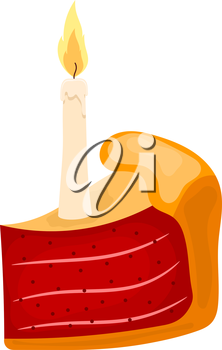 Vector illustration of a piece of cake with candle on a white background. Cartoon cake with 