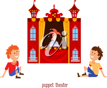Puppet show. Illustration of children's puppet theater with a doll clown and child sitting on a white background. Cartoon vector a puppet theater with young viewers