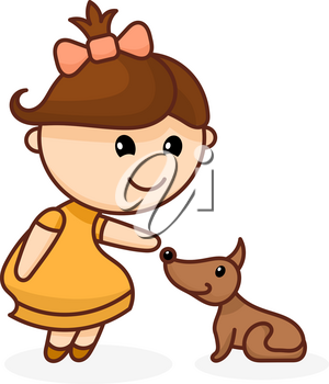 Abstract color image of a cute little girl with a bow and a dog. Cartoon girl with dog on white background. Vector illustration
