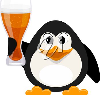 Cartoon style penguin with a glass of beer on a white background. Vector illustration