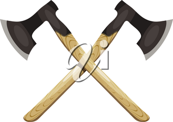 crossed ax on a white background. Vector illustration