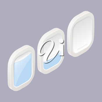Porthole in three different positions in isometric style on a colored background. Vector illustration of a technical element. Illuminator