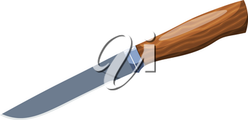 Color image of a knife on a white background. Vector illustration Cartoon style knife