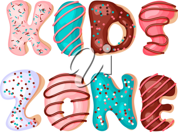 Kids zone cartoon inscription letters from donuts  on a white background. Vector illustration. Playground and game banner for children with colored letters