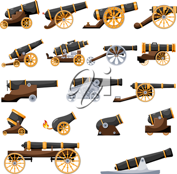 Set Vintage gun. Color image of medieval cannon firing on a white background. Cartoon style. The subject of war and aggression. Stock vector illustration