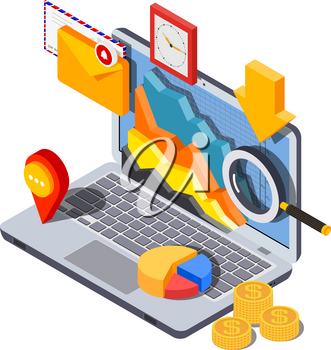 Vector image of a isometric style laptop with icons of envelope, graphics, money, magnifier, clock and arrow on a white background. The concept of  successful remote business work. Vector illustration