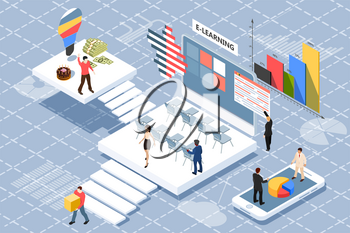 Online teamwork concept banner with characters. Can be used for web banner, infographics, annual report. Flat isometric vector illustration on white background. Vector business illustration