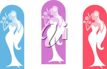 Beautiful bride with flowers in three color variations. Vector illustration