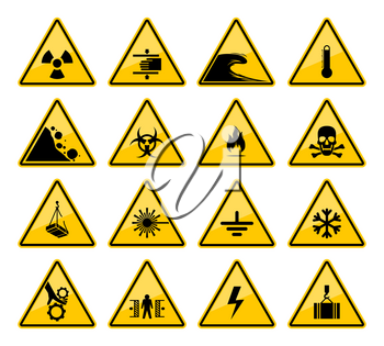 Hazard warning sign vector icons of danger caution and safety attention. Isolated yellow triangles with risk of toxic, flammable and high voltage, biohazard, radiation, laser, crushing and temperature
