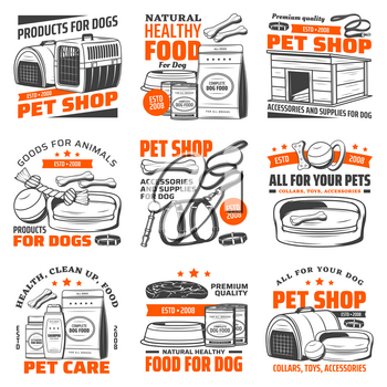 Pet shop dog care supply isolated icons with vector animal food and grooming accessories. Puppy toys, bed and feeding bowl, collar, leash and harness, kennel, carrier and whistle, shampoo and vitamins