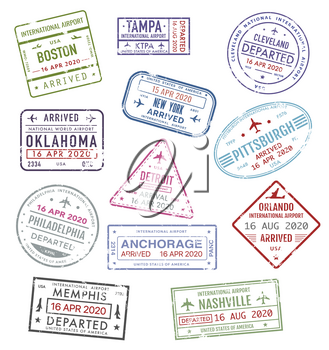 Stamps of USA, passport travel visas of US airport, vector icons, international departure and arrival. America airport passport travel stamps of New York, Boston, Orlando, Philadelphia and Pittsburgh