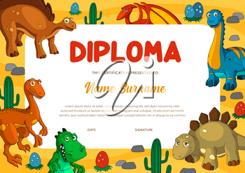 Education diploma certificate vector template with dinosaur animals. Kids award or achievement certificate of elementary school or preschool graduation with cartoon dino monsters background frame