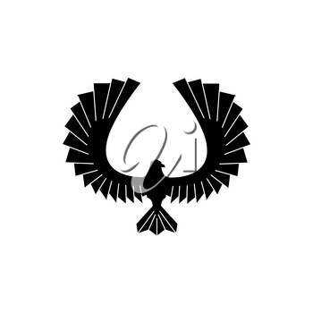 Eagle bird with wild spread wings isolated monochrome icon. Vector falcon or hawk, flying bird with outspread wings, animal silhouette, hunting sport mascot. Coat of arms and heraldry symbol