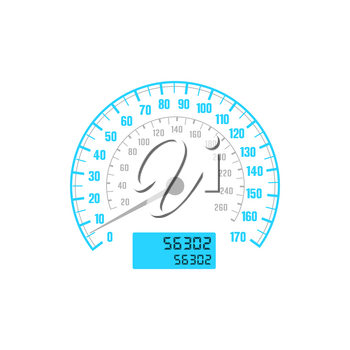 Speedometer car gauge with speed scale, odometer dashboard, vector mph and km dial counter. Vehicle auto speed panel and control dashboard, car races speedometer glue LED isolated icon