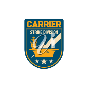 Chevron with maritime ship boat shipping and carrying tactical weapons isolated navy division special squad, army navy forces patch. Marine operations department chevron of strike division carrier