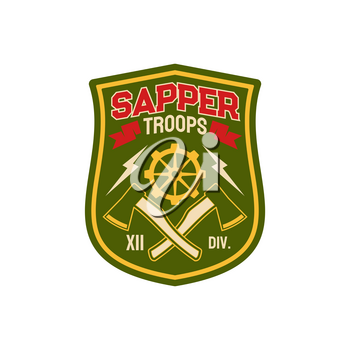 Sapper, pioneer combat engineers special division isolated chevron. Vector uniform patch, combatant soldier doing military engineering duties as breaching fortifications, demolitions, bridge-building