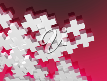 Royalty Free Clipart Image of White Plus Symbols on a Red Background