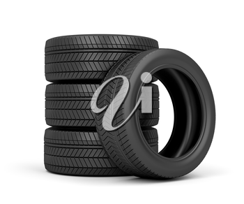 Set of car tires on white background