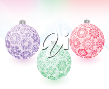Royalty Free Clipart Image of a Three Christmas Ornaments