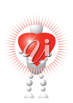 Royalty Free Clipart Image of an Android Holding a Heart