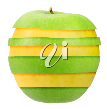 Sandwich of green and yellow apple. Isolated on white background. Close-up. Studio photography.