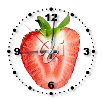 Single cross section of red strawberry as a office clock. Isolated on white background. Close-up. Studio photography.