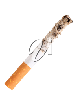 Single cigarette butt with ash. Close-up. Isolated on white background. Studio photography.