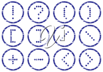 Matrix symbols icon set. Grunge. White - dark blue palette. Vector illustration.
