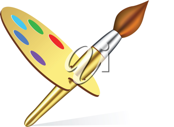 Royalty Free Clipart Image of a Paintbrush and Palette