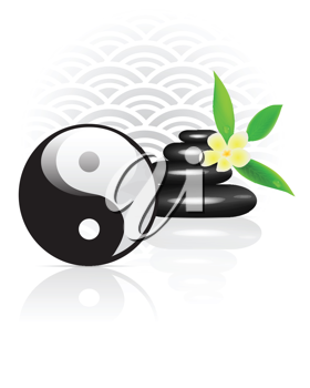 Royalty Free Clipart Image of a Yin Yan Symbol and Rocks