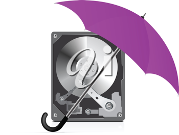 Royalty Free Clipart Image of an Umbrella Over a Hard Disc Drive