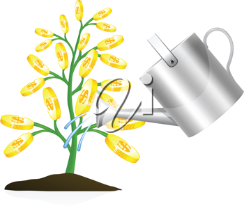 Royalty Free Clipart Image of a Money Tree and Watering Can