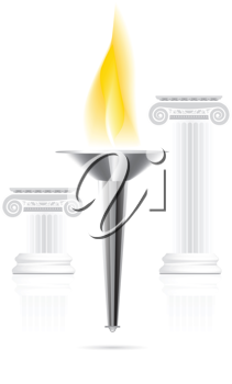 Royalty Free Clipart Image of a Torch Between Two Pillars