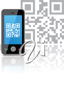 Royalty Free Clipart Image of a Cell Phone With QR Code