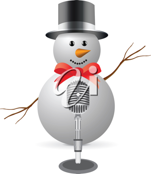 Royalty Free Clipart Image of a Snowman With a Microphone