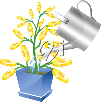 Royalty Free Clipart Image of a Watering Can and a Money Tree