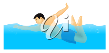 Royalty Free Clipart Image of a Man Swimming