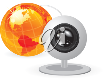 Royalty Free Clipart Image of a Camcorder and Globe