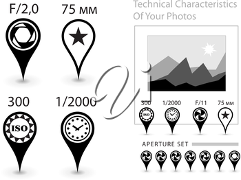 Icons - a pins to describe the technical characteristics of the photographs. Aperture, shutter speed, ISO, focal distance