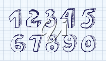 Hand drawn vector numbers onnote background