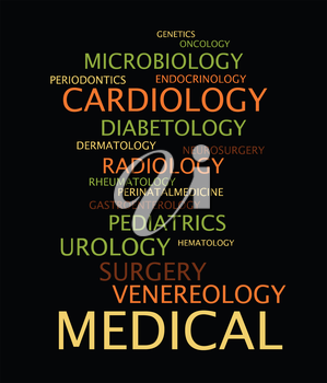 Medical specialization in the form of a cloud of words. Vector illustration