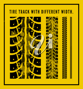 Tire tracks collection with different width. Vector illustration on yellow background