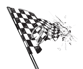 Drawing checkered flag in the dynamic style. Vector illustration