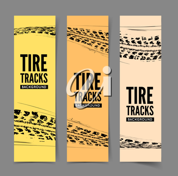 Tire tracks background. Vector illustration. can be used for for posters, brochures, publications, advertising, transportation, wheels, tires and sporting events