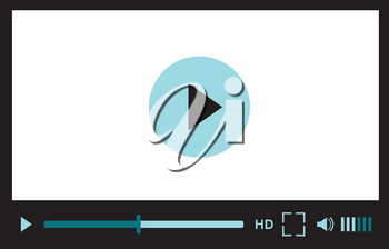 Video player interface for web site design or mobile application. Vector illustration on white background
