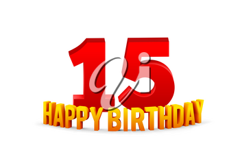 Congratulations on the 15th anniversary, happy birthday with rounded 3d text and shadow isolated on white background. Vector illustration