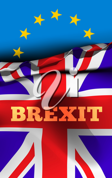 Brexit, the exit of Great Britain from the European Union. Vector illustration design with flags of UK and EU