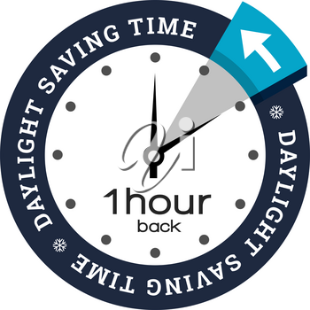Clock switch to winter time. Vector illustration with snowflake icon on white background