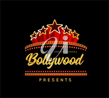 Bollywood is a traditional Indian movie. Vector illustration on black background